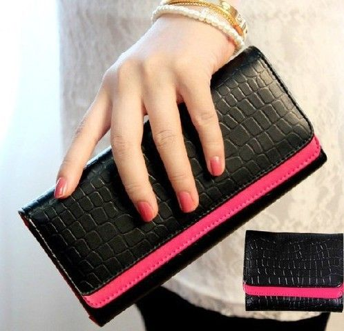 2014 hot sell Vintage embossed stone pattern double layer color block  women lady wallet long design purse handbag
