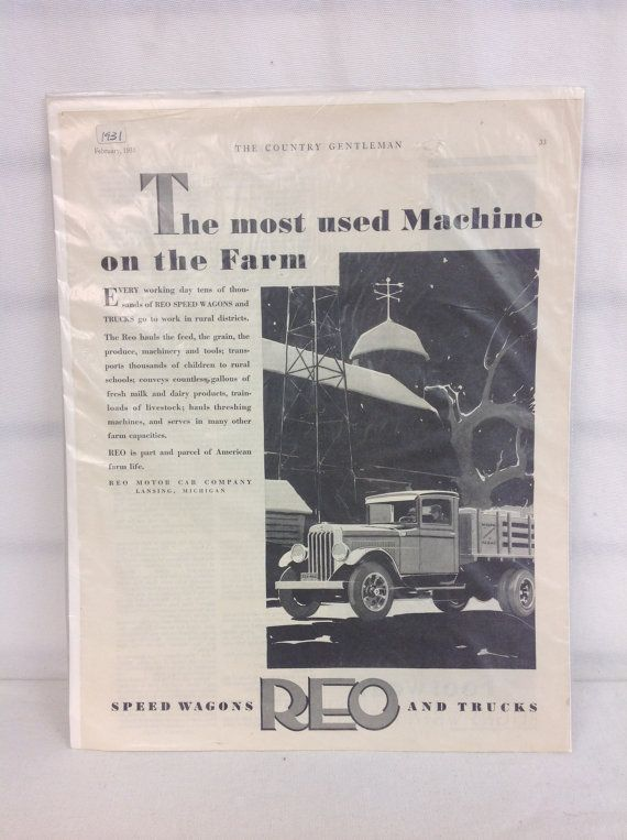 1931 REO Speed Wagon & Truck Ad by ModOnMain on Etsy, $12.00