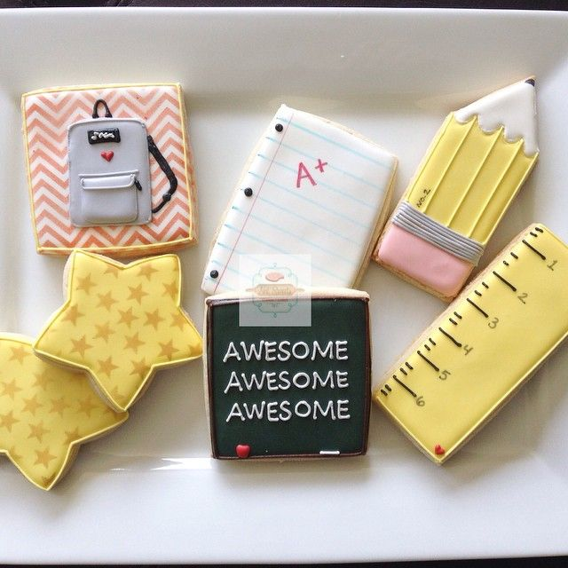 School Supplies | Decorated Sugar Cookies | Backpack, Ruled School Paper, Pencil, Ruler, Chalkboard, and Stars