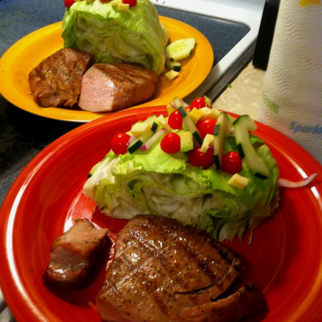 ... Grilled Tuna Steak (Salt, Pepper, EVOO) YUMMY and QUICK. Under 20