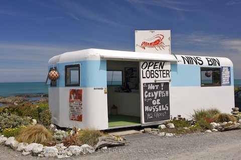 Nins Bin,  Kaikoura Coast. Well well.. since kaikoura means lotsa crayfish I guess we cant NOT go there right...! But sorry Nins Bin.. think we might go for our own fresh crays!