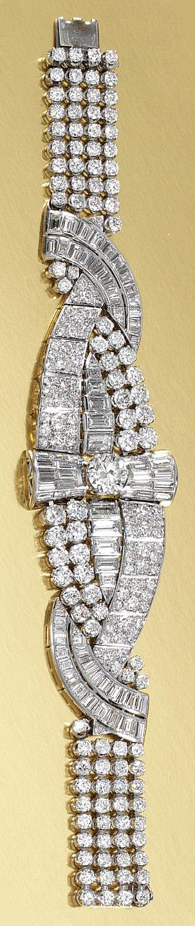 DIAMOND BRACELET, 1930s interlaced ribbon design set with graduated lines of circular-cut and baguette diamonds, centring on a circular-cut diamond weighing 2.23 carats, length approximately 180mm, case.