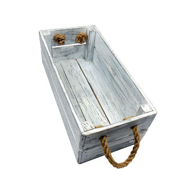 Skrzyneczka drewniana ozdobna 15x31x11 Biało Szara - marka LAAU - Skrzynki i pudełka. Shabby chic.