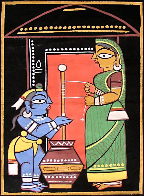Mother Yashoda and Young Krishna (Jamini Roy Painting Reproduction on Cloth - Unframed)) India is extremely rich in its cultural heritage. The rural sector of India has contributed vastly to its art and crafts. Indian folk art paintings deserve a special mention here, as each state has developed its own style and approach to art, which further enriches India's vast ethnic diversity. Featured in this simple, yet beautiful, folk art painting, is a picture of three women Vaishnavites, also c…