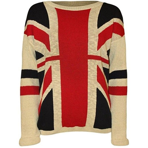 The Home of Fashion New Ladies Cream Union Jack Great Britain UK... ❤ liked on Polyvore featuring tops, long sleeve tops, red long sleeve top, cream long sleeve top, red top and cream top