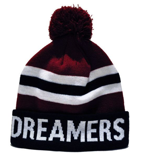 Benjartclothing Online Store Dreamers Club Dreamers Bobble Beanie... ($36) ❤ liked on Polyvore featuring accessories, hats, beanies, gorros, leigh, maroon beanie, beanie hats, bobble beanie, beanie cap hat and bobble hat