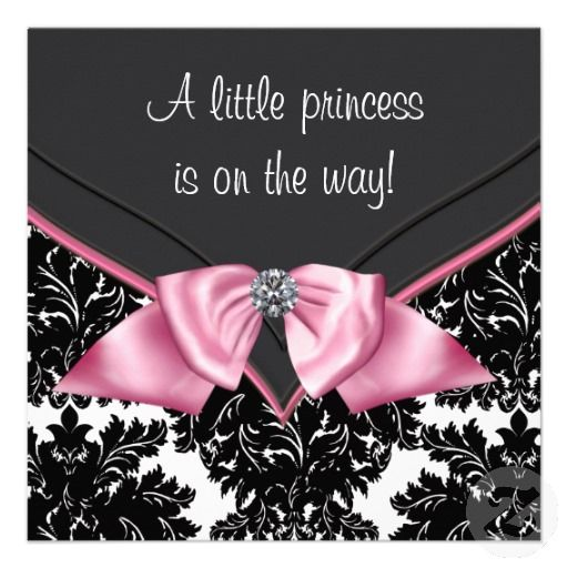 Elegant Black Damask Princess Baby Shower Invites