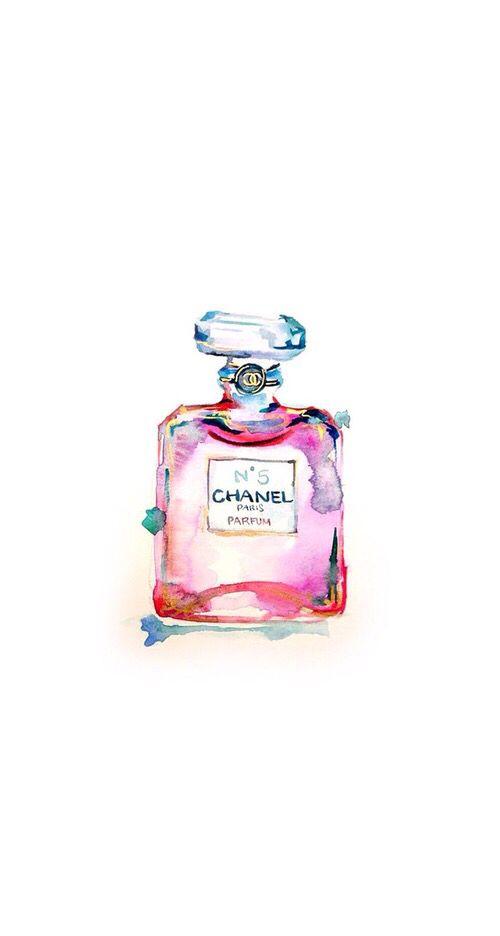 Chanel Pink Bottle Handrawned Iphone Wallpaper