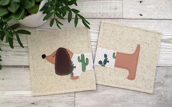 Dachshund Coasters, Fabric Coasters, Dachshund Gift, Birthday Gift, Gift For A Dog Lover, Cactus Decor, Dog Decor, Housewarming Gift