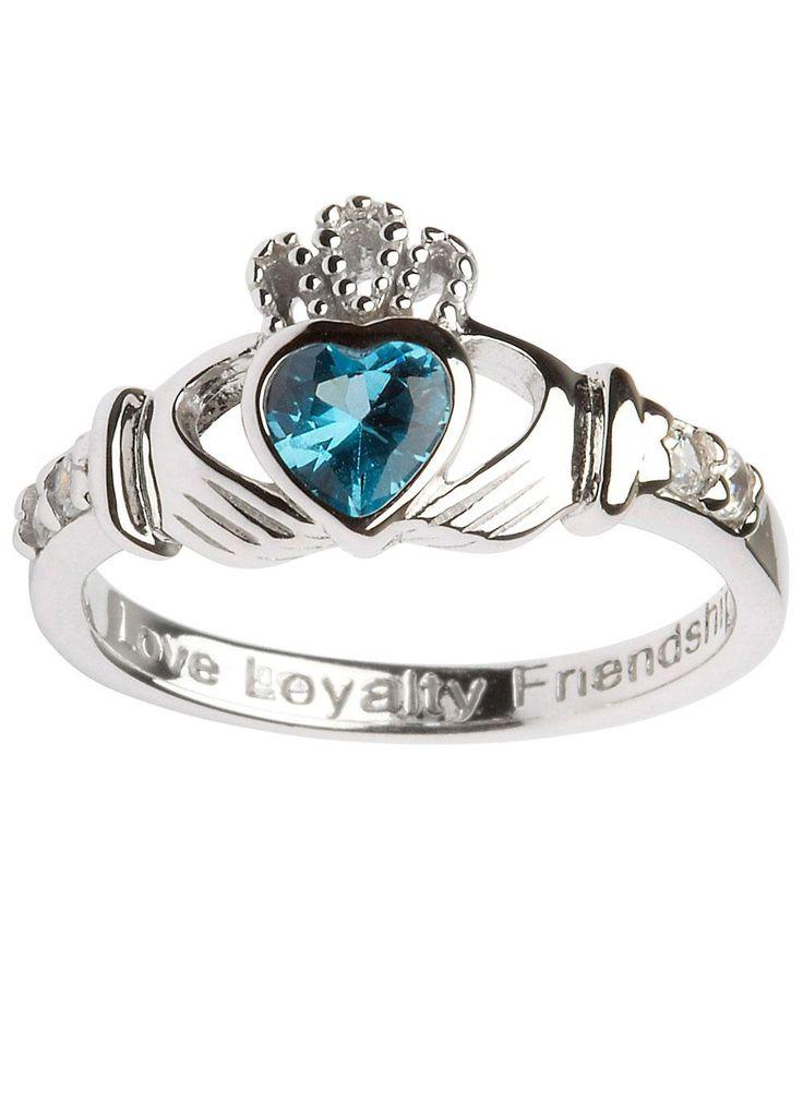 Doti Style 925 Sterling Silver Beaded Birthstone European Ring March lRbG5