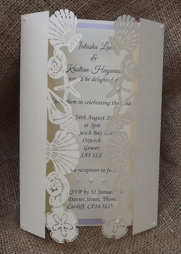 beach laser cut wedding invitation by cardiffinvitations on etsy