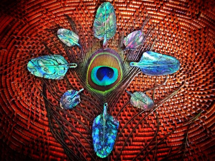 Abalone / Paua Shell Eagle Feather Pendant by Feathertribeme