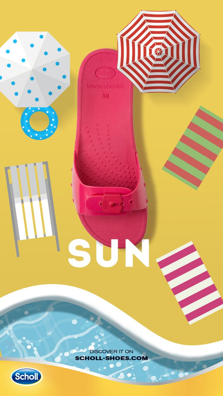 When you go to the pool, don't forget to look good. Wear Sun, the beautiful slipper for a perfect day under the sunlight. Discover it on scholl-shoes.com
