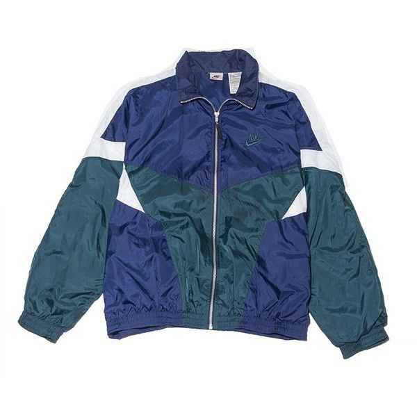 Nike Air Jacket Large Perennial Merchants ($48) ❤ liked on Polyvore featuring outerwear, jackets, blue jackets, nike and nike jackets