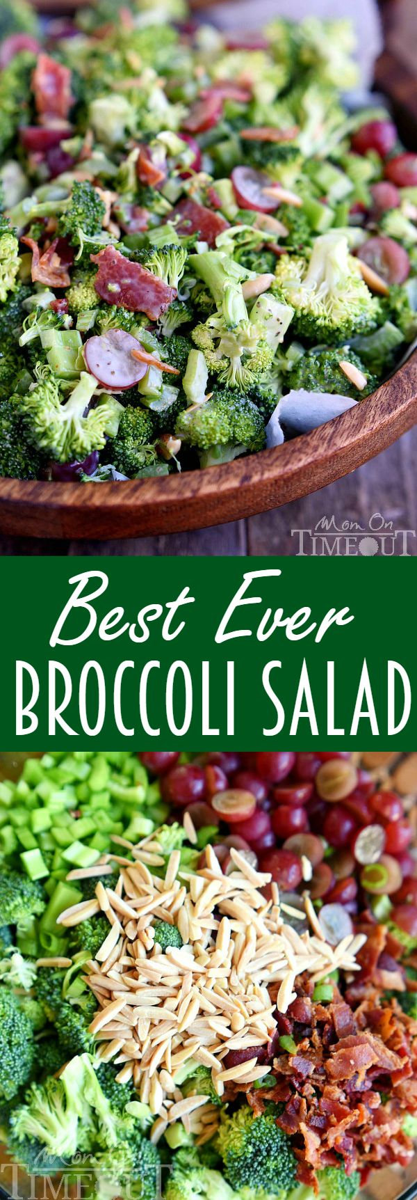 Dont believe me? Just try it! This Best Ever Broccoli Salad recipe is bursting with flavor! Packed full of broccoli, bacon, grapes, almonds and more - every bite is delicious! | MomOnTimeout.com