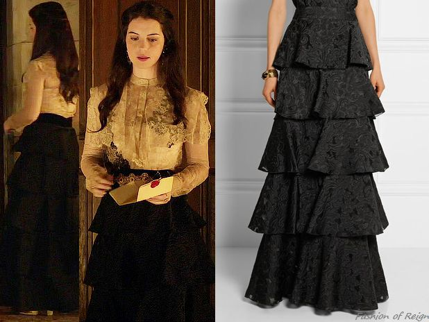 "In the episode 3x12 (""No Way Out"") Queen Mary wears this sold out Vilshenko 'Sofia' Tiered Jacquard Maxi Skirt. Worn with Valentino blouse, vintage belt, Elizabeth Cole earrings, Gillian Steinhardt labyrinth and signet rings."