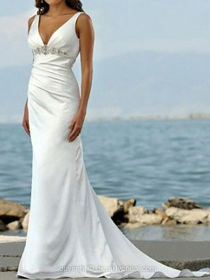 Sheath/Column V-neck Satin Sweep Train Beading Wedding Dresses -USD$221.68