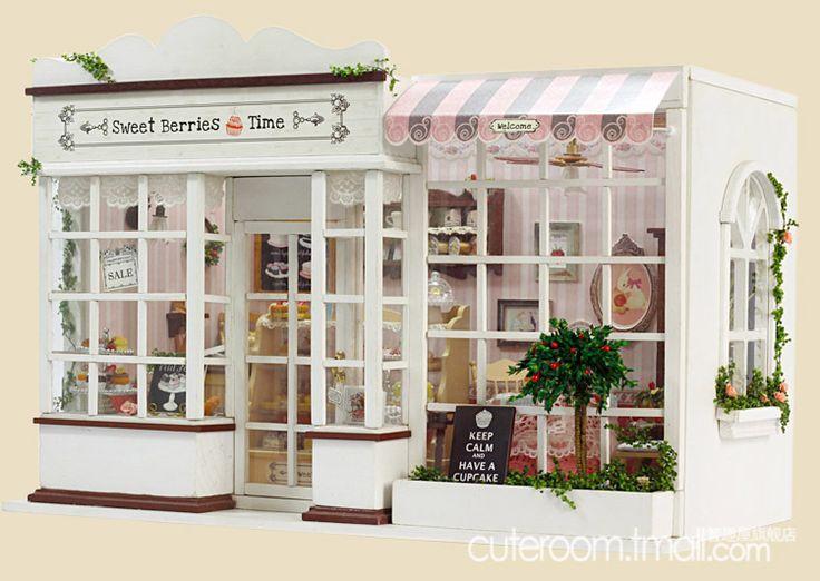 Diy llevó la luz de casa de muñecas miniaturas w/luz tienda de torta de pan de panadería tienda de bayas dulces