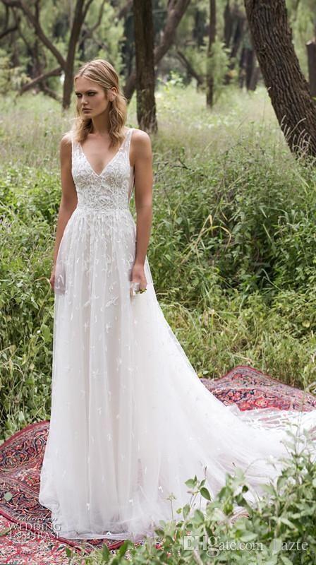 Vintage Lace Detail Country Bohemian Wedding Dresses 2017 Modest Limor Rosen V-n…