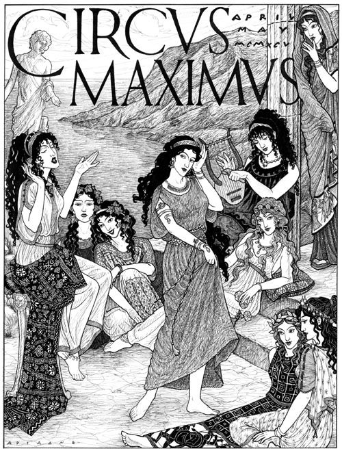 """The Nine daughters of Mnemosyne (""""Memory"""") and Zeus, who preside over inspiration and the arts. From left to right They are: Kalliope, Leader and Muse of Epic Poetry; Melpomene, Muse of Tragedy; Thalia, Muse of Comedy; Terspichore, Muse of Choral Dance, Euturpe (with lyre), Muse of Music; Erato (lounging on steps), Muse of Love or Erotic Poetry; and Polyhymnia, Muse of Sacred Song. Seated in the foreground are Klio, Muse of History (left) and Ourania, Muse of Astronomy."""