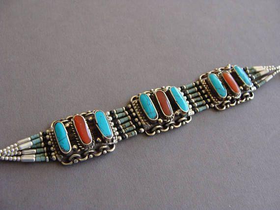 Nepalese turquoise Bracelet, Vintage Bracelet, Carnelian Bracelet, Ethnic Bracelet, Tribal Jewelry, Gypsy bracelet