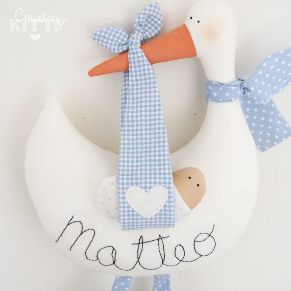 Stork softie newborn decoration Fiocco by CountrykittyHandmade