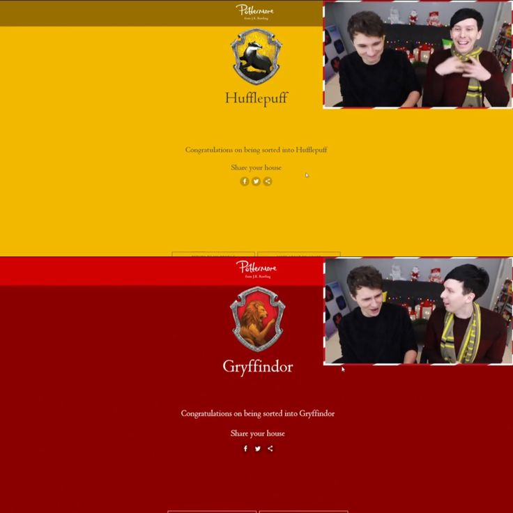 The Result: Phil (still) in Hufflepuff and Dan (moves) in Gryffindor [originally placed in Slytherin] on Which Hogwarts House are Dan and Phil?! - POTTERMORE