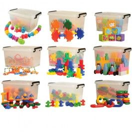 "Toddler+Manipulative+Resource+Sets+In+Storage+Tubs++-+Nine+different+manipulative+sets,+each+in+their+own+plastic+tub+with+snap-on+lid.+All+573+safe,+colorful+chunky+plastic+components+are+easy-to-connect+and+take-apart,+giving+lots+of+open-ended,+hands-on+play.+Tubs+are+each+17""+L.+x+12""+W.+x+7""+H.+Includes+Bunny+Builders,+Bristle+Blocks,+Snap+Beads,+Lots+O'Links,+Giant+Fabulous+Fish,+Giant+Interlocking+Bricks,+Baby+Soft+Blocks,+Giant+Nuts+&+Bolts,+and+Giant+Chain+Links.+<p>Constructive+Pla"