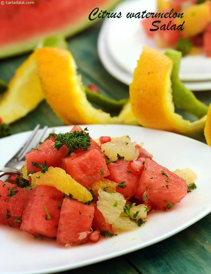 Citrus Watermelon Salad recipe | by Tarla Dalal | Tarladalal.com | #39642