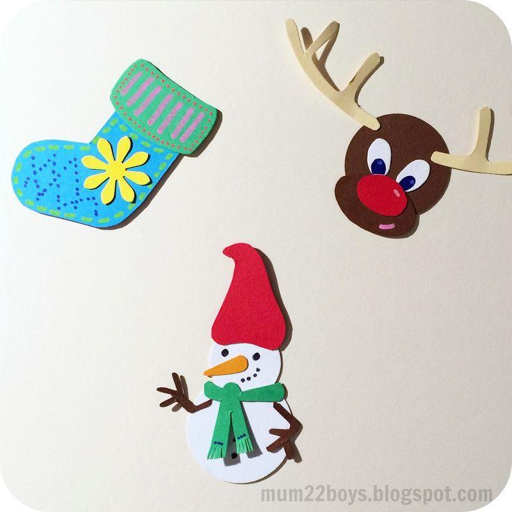 Endnu engang har jeg været igang med saks og karton - først blev det til en snemand, en julesok og et rensdyr (som du kan finde skabeloner t...