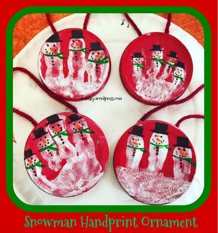 how to make snowman handprint ornaments