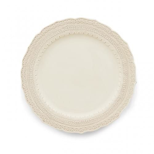 Cream Finezza Dinner Plate || The Finezza cream dinner plate adorns an intricate lace design on its border. Italian ceramic, hand made in Italy. Coordinates with Finezza Charger and Salad Plate. Dimensions: 11 x 11. Quantity: 160.