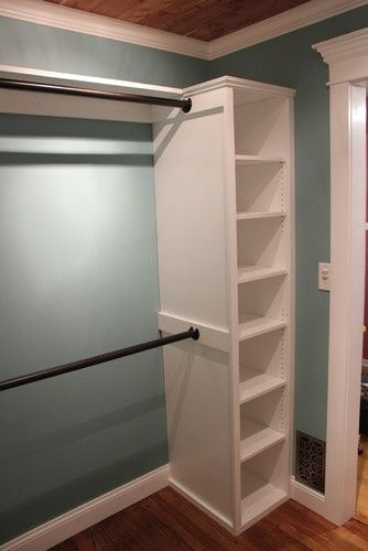 Take a couple of book shelves, and add some rods in between the two of them for an instant closet. - kids bedroom closets/guest closet?.
