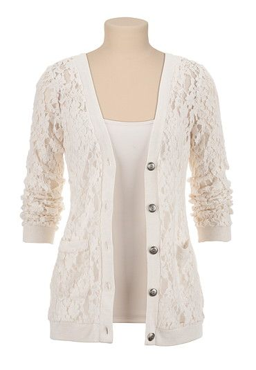 Floral Lace Grandpa Cardigan available at #Maurices