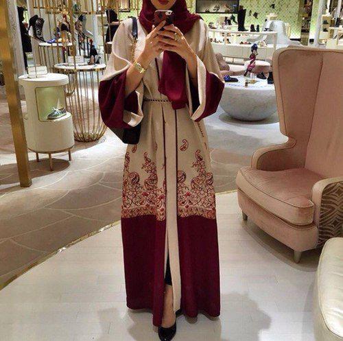 Khaleeji Style Maroon and Beige Abaya