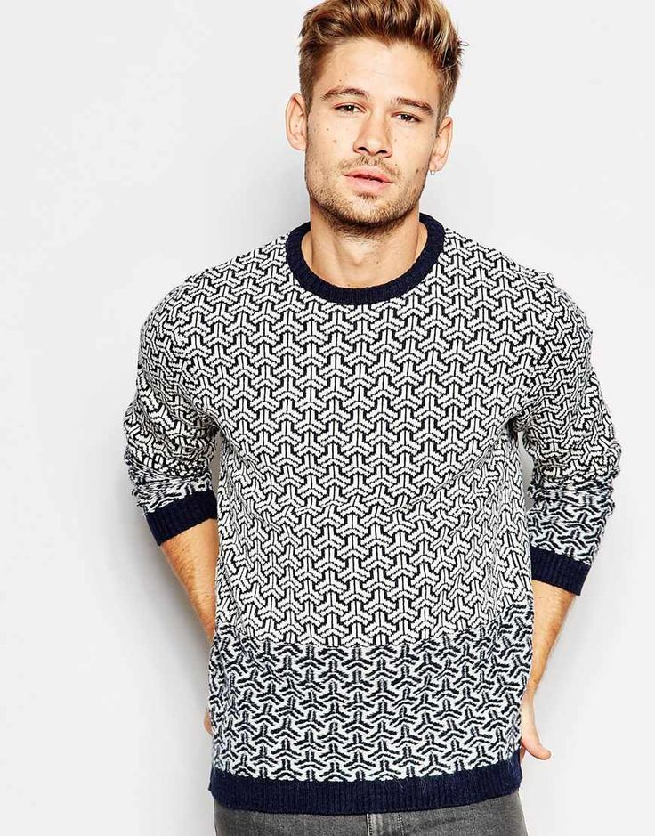 Image 1 of ASOS Crew Neck Jumper with Reverse Knit Design