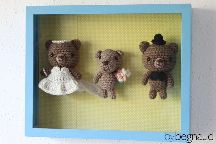 Hand crocheted wedding party. Includes a bride bear, groom bear, and flower girl puppy. Made by Begnaud, find more here: www.bybegnaud.weebly.com