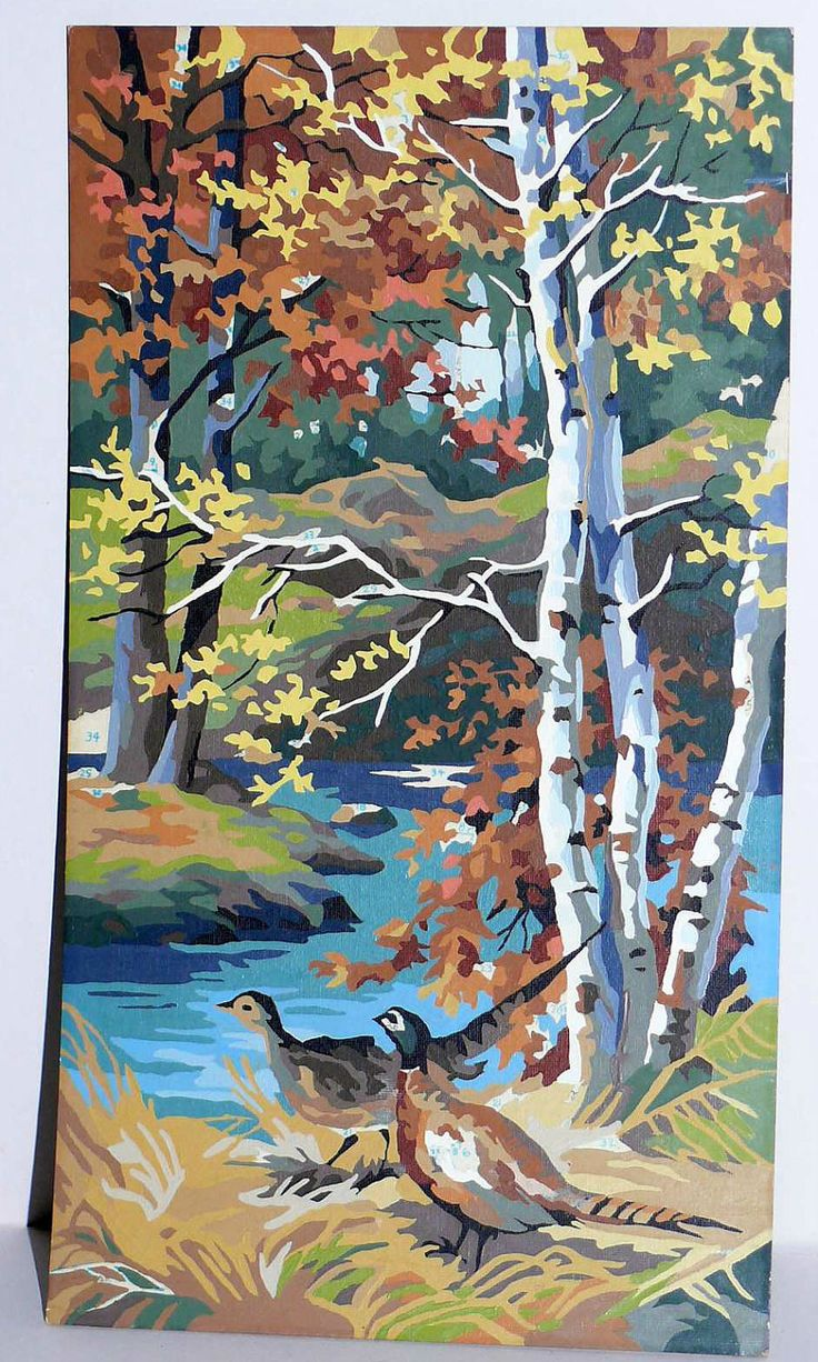 Craft master paint by number kits - Pbn Pheasants And Birch Trees Paint By Number Kit Painting Kitsch Vintage Collectible 52 00