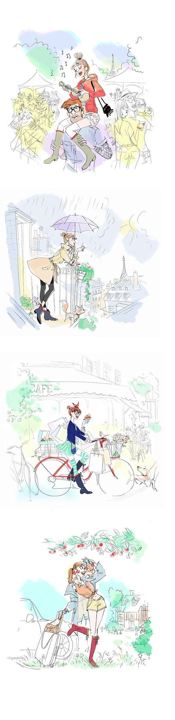 Aigle, paris, dessin, couple, femme, chat, romantisme