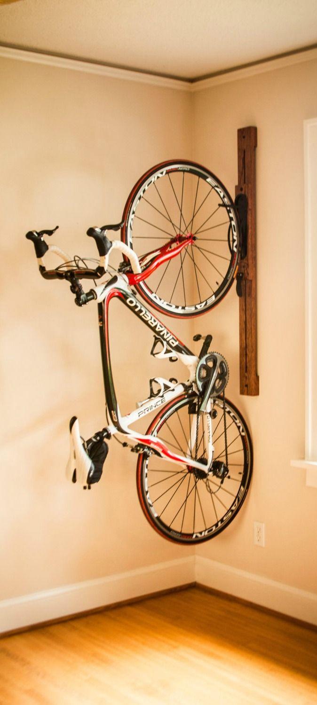 Premium handcrafted 4' adjustable vertical wall-mount bike rack.