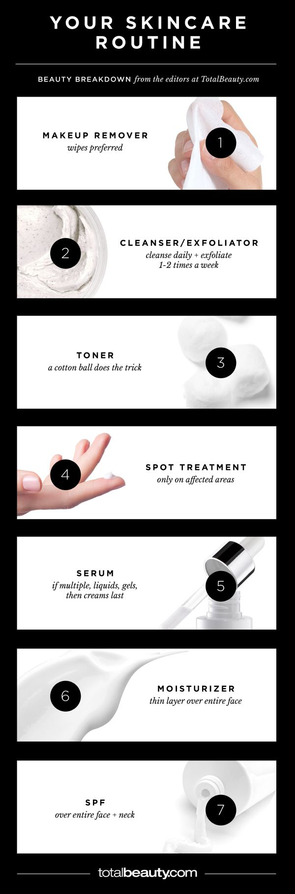 The Only Skincare Guide You'll Ever Need. A cheat sheet for every step of your cleansing, treating and anti-aging routine. Make sure you are using your skincare products properly!