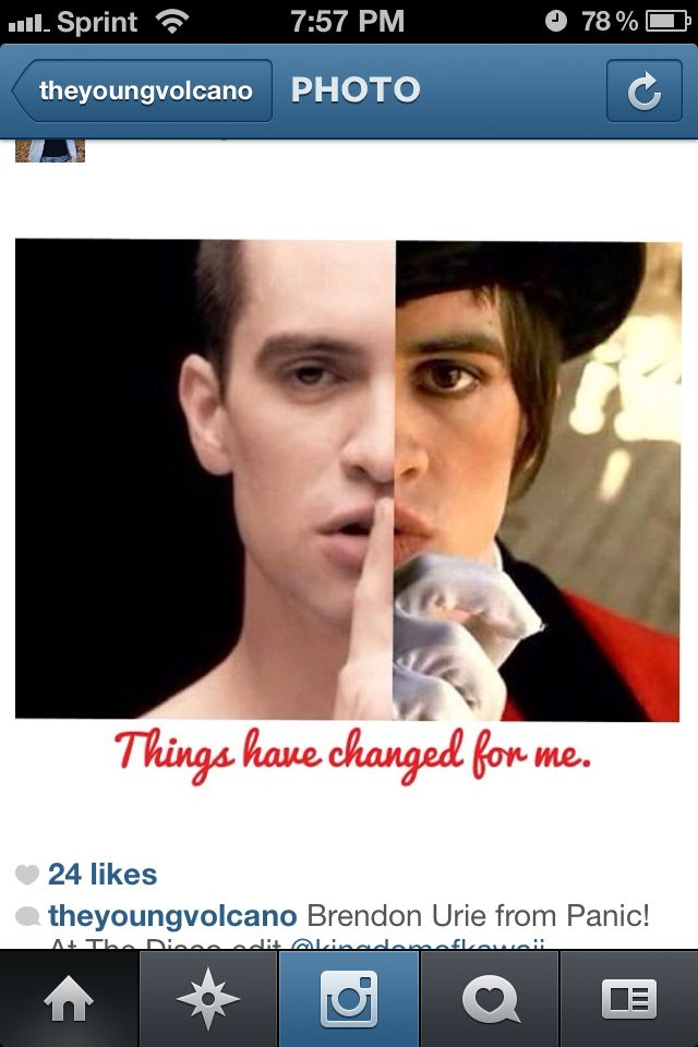 Quite the transformation! He is still the Brendon Urie that we all love but I love how these two pics collage together so well!! Love it. Love him. :)