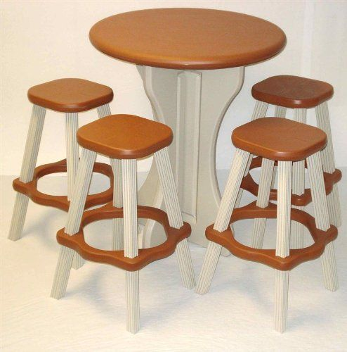 "Leisure Accents Bistro 30"" Table Set with 4 Stools - Redwood by Leisure Accents. $189.79. All resin, snap together assembly, can be weighted down with sand or water. 30"" diameter Bistro set with 4 stools"