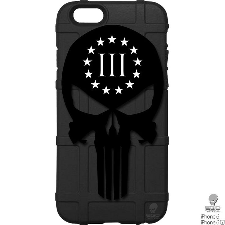 """LIMITED EDITION - Magpul Industries Field Case Compatible with Apple iPhone 7, 8 (Standard 4.7"""" Size) with Custom Design by EGO Tactical Punisher 3 Percenter. This 100% Authentic, Made in the USA Magpul Industries Field Case, through the magical process of UV Laser Printing, created this amazing one-of-a-kind case for the Apple iPhone 7, 8 (Regular 4.7"""" version). Semi-rigid thermoplastic elastomer construction provides protection against minor Fields and abrasions. Raised lip protects…"""