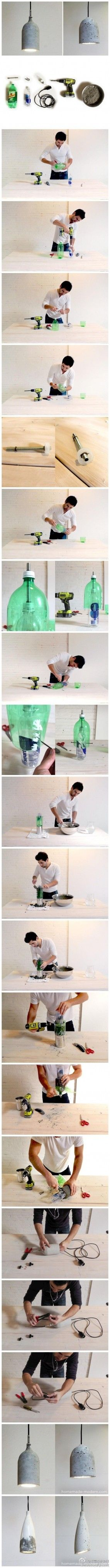 DIY Cement Pendant Light  --  soda and water bottles for molds and a lamp kit for wiring  --  like the one with the angle bottom best