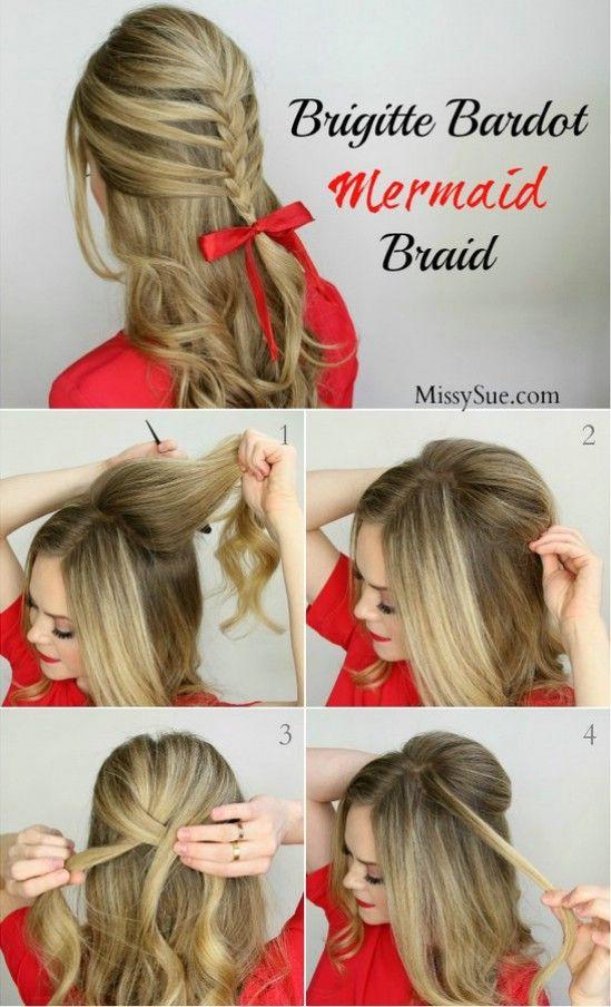 Poufy Mermaid Braid - 12 Super Cute DIY Christmas Hairstyles for All Lengths