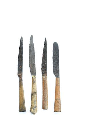 Four late 15th/early 16th century table knives, circa 1500, all with cutler's marks (4)