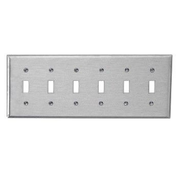 2 switchplate brushed stainless steel silver six toggle