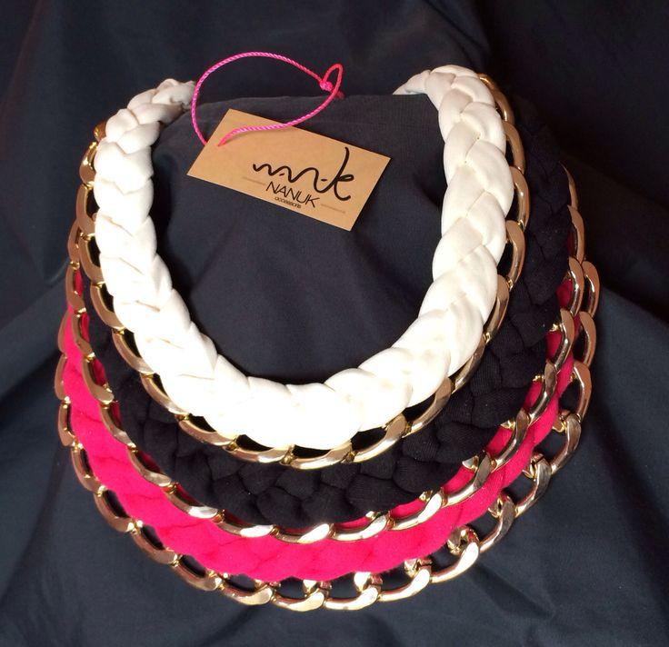 Collares con tela y cadena de varios colores  de Nanuk accessoris