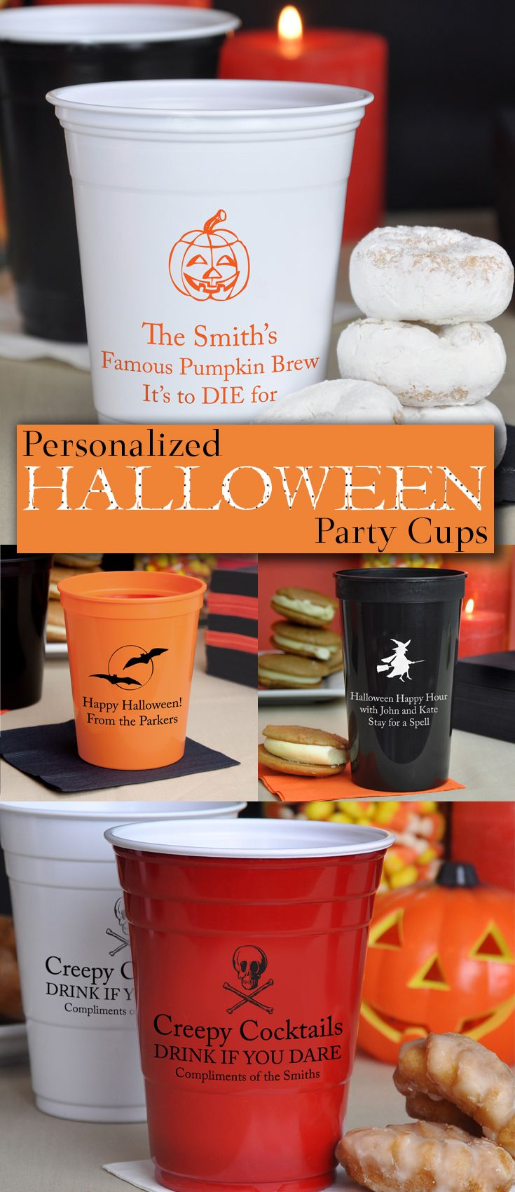 Plastic stadium, Solo or Styrofoam cups personalized with a Halloween design and up to 4 lines of custom print on the front and back will add fun and interest to your Halloween wedding reception or party. Great conversation starters and affordable souvenirs to take home, guests love personalized cups. These Halloween cups can be ordered in a variety of sizes at http://myweddingreceptionideas.com/halloween_party_cups.asp